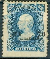 sc 109 año 1876 hidalgo 25 cent dist 34 puebla no. separados