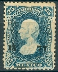 sc 109 año 1877 hidalgo 25 cent dist 15 durango no. separado
