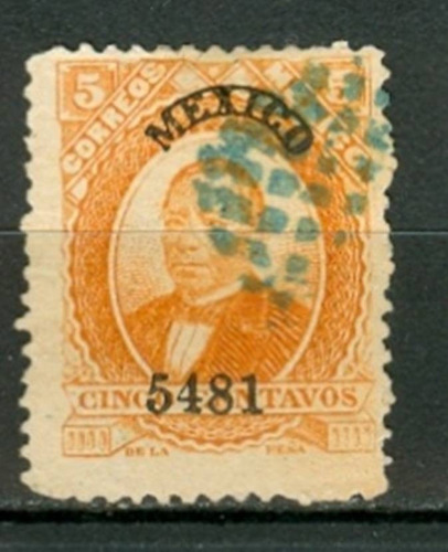 sc 125 juarez 5 cent papel grueso año 1881 dist 54 mexico