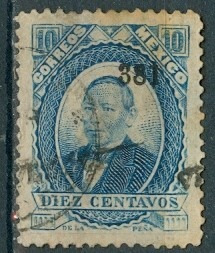 sc 126 juarez 10 cent papel grueso año 1881 dist 3 veracruz