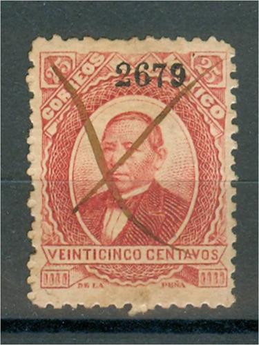 sc 127 juarez 25 cent papel grueso año 1879 dist 26 merida