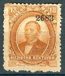 sc 137 juarez 18 cent papel delgado año 1883 dist 26 merida