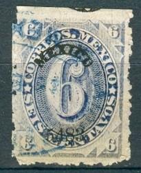 sc 149 numeral 6 cent papel delgado año 1883 dist 54 mexico