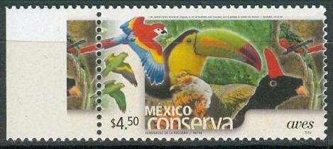 sc 2259 (s2) año 2002 conserva aves 4.50p perf 14 anv brill,