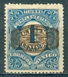 sc 593 año 1916 due stamp barril  5c sobre 1c