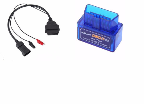 scanner bluetooth automotivo obd2 + cabo fiat 3 pinos pesu