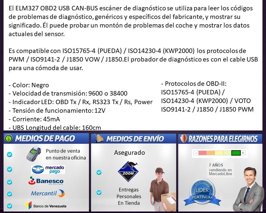 Scanner Elm327 Usb Automotriz Interfaz Obdii Obd2 Escaner - Bs ...
