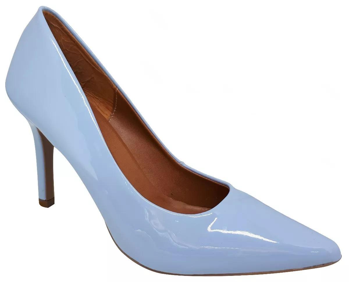 40e6bf4f1c scarpin azul bebe claro verniz salto alto fino bico fino. Carregando zoom.