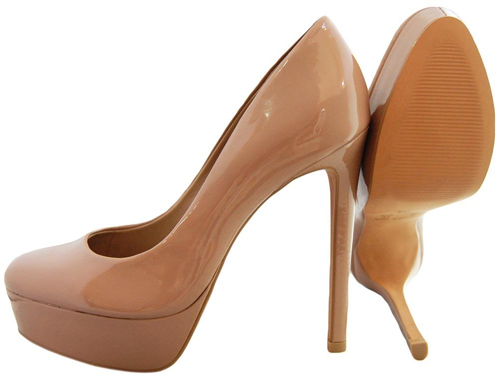 c9733adc50 scarpin bico redondo couro verniz nude. Carregando zoom.