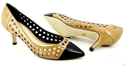scarpin capodarte bico fino classico salto baixo 6,5cm couro