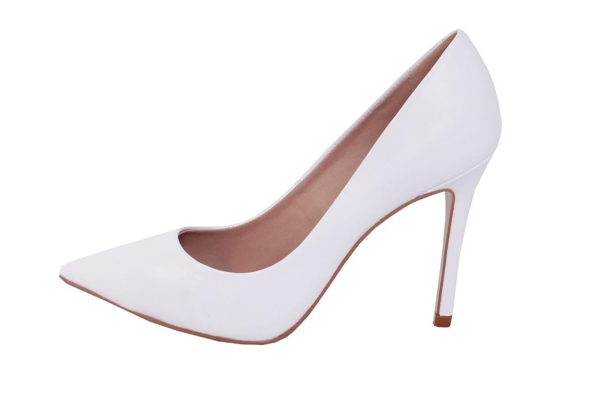 e3c9b2c8b0 scarpin couro branco conceito fashion bico fino salto 10cm. Carregando zoom.