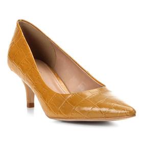 9d86ac7c9d Scarpin Couro Shoestock Croco Salto Baixo Bico Fino