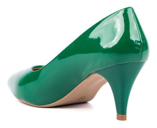 scarpin factor fashion salto baixo 5cm verniz - coleção 2020