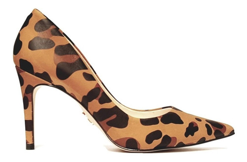 scarpin feminino bico fino salto alto 9cm estampado carrano