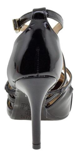 scarpin feminino salto alto vizzano - 1184193 verniz/preto