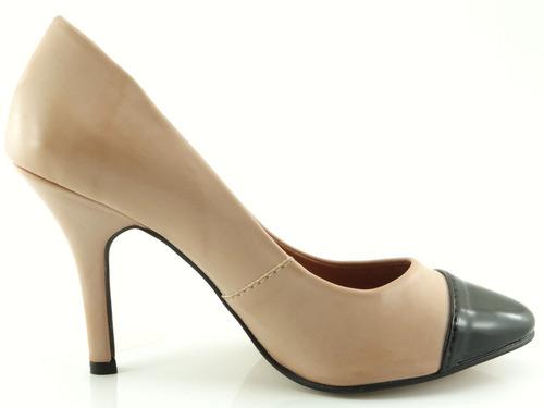 scarpin glamm biqueira nude sapatos mania