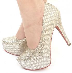 a04d69cdd3 Scarpin Com Glitter Dourado - Sapatos no Mercado Livre Brasil