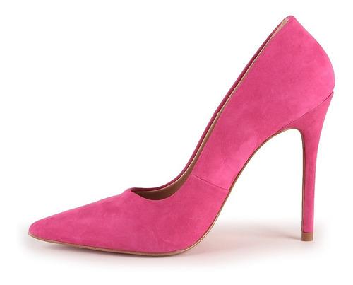 scarpin grazi sola vermelha couro nobuck rosa