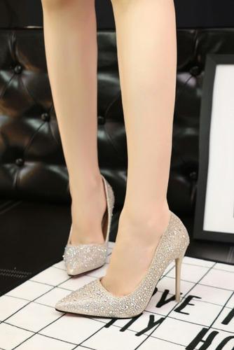 scarpin importado de luxo com cristais pronta entrega