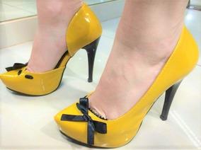 6571953b8 Sapatos Eurico - Scarpins para Feminino Amarelo no Mercado Livre Brasil