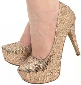 672e3d1a59 Scarpin Com Glitter Festas Dourado - Sapatos no Mercado Livre Brasil