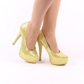 1bcf439826 Scarpin Com Glitter Dourado Feminino - Sapatos no Mercado Livre Brasil