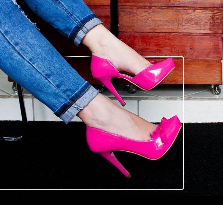 4163164817 Scarpin Meia Pata Rosa Pink Laço Salto Alto Fino Verniz - R  164