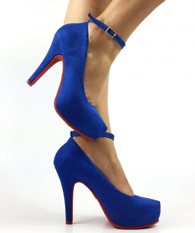 66f7852e1 scarpin meia pata salto alto fino azul royal bic camurç tira. Carregando  zoom.