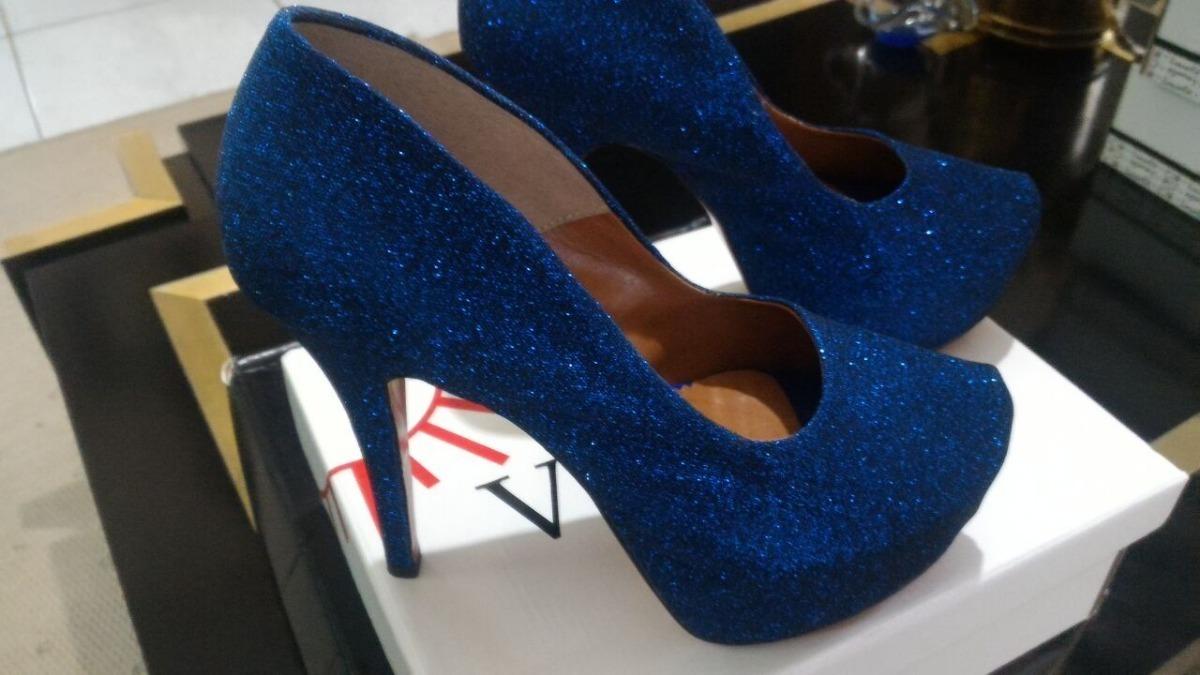 c57d9ae9a scarpin meia pata salto alto fino azul royal bic glitter. Carregando zoom.