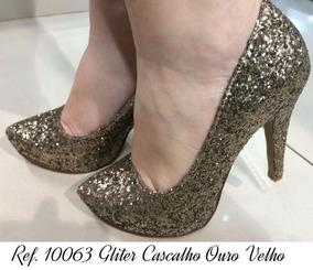 f6c6b7d411 Scarpin Meia Pata Dourado - Sapatos no Mercado Livre Brasil
