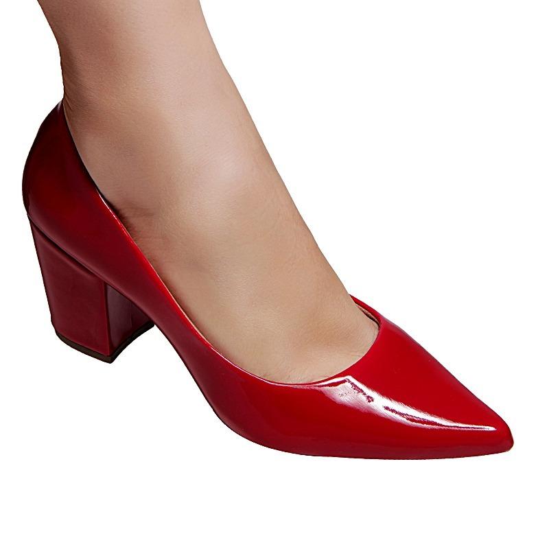 3e831b0e4 Scarpin Muito Conforto Sapato Salto Alto Grosso Vermelho - R$ 99,90 em  Mercado Livre
