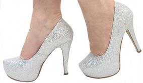 51efb5ad0 Sapato Cinderela Que Brilha Feminino Scarpins - Sapatos no Mercado ...