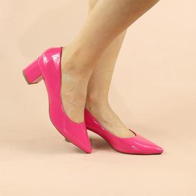 1cf15be763 Scarpin Rosa Pink Salto Baixo - Scarpins para Feminino Rosa chiclete ...