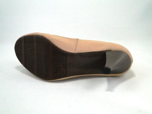 scarpin salto 6 cm couro bege boni 1465-3
