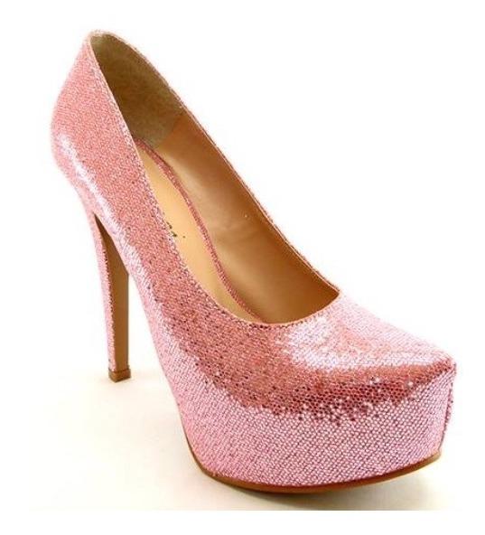 c0a17d5cb Scarpin Salto Alto Meia Pata Brilho Glitter Rosa Bebe Claro - R$ 159 ...