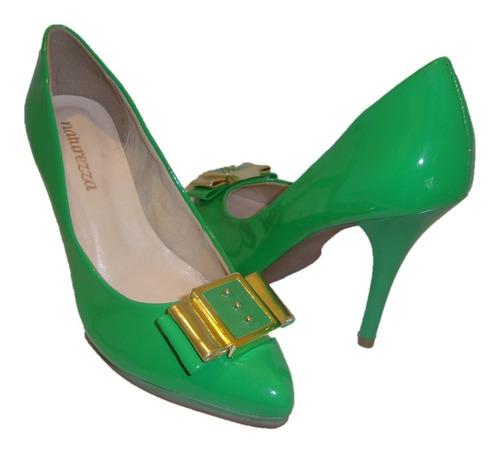 scarpin sapato feminino verde/dourado via uno naturezza