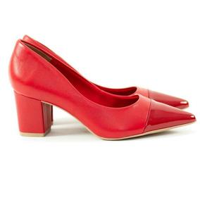 f8c0c573fb Scarpin Scarlet Salto Bloco Napa   Verniz Vermelho Ref 10379