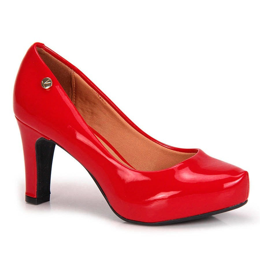 e9c44121e5 scarpin social vizzano verniz vermelho - meia pata. Carregando zoom.