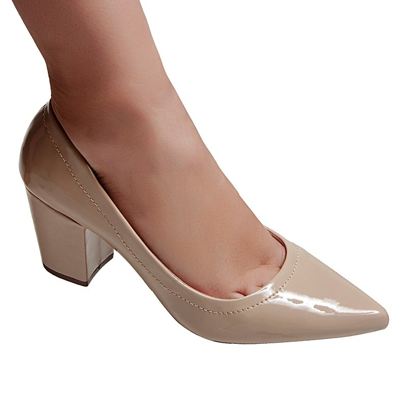 017986c500 scarpin verniz nude sapato super conforto salto alto grosso. Carregando  zoom.