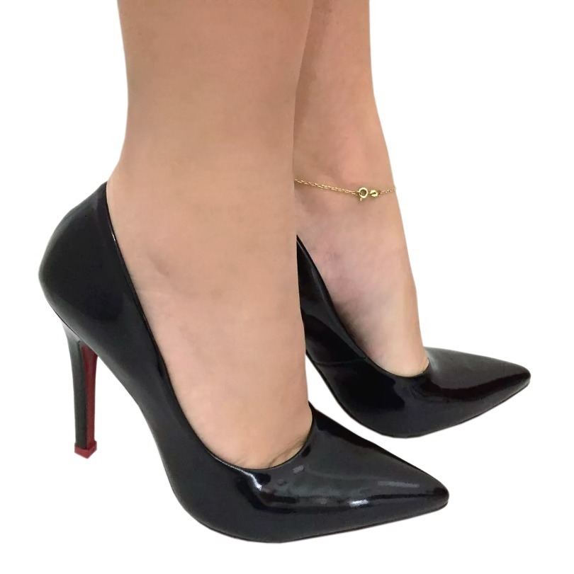 0a7373a985 scarpin verniz preto sola vermelha salto alto fino bico fino. Carregando  zoom.