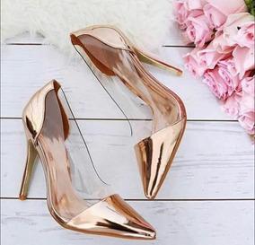 8da59aca8a Sapato Scarpin Dourado Envelhecido Aberto Feminino - Scarpins e ...