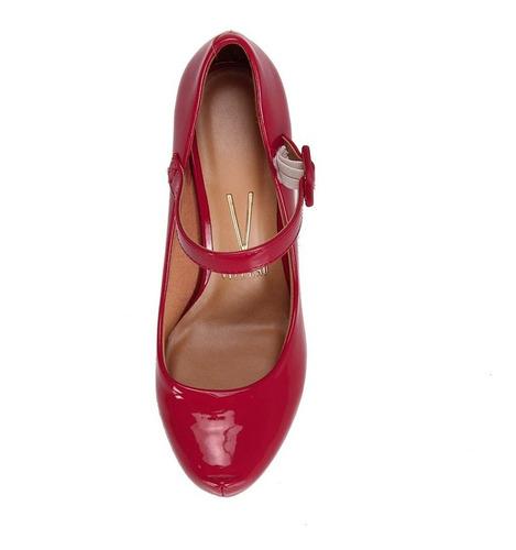 scarpin vizzano boneca salto grosso verniz vermelho