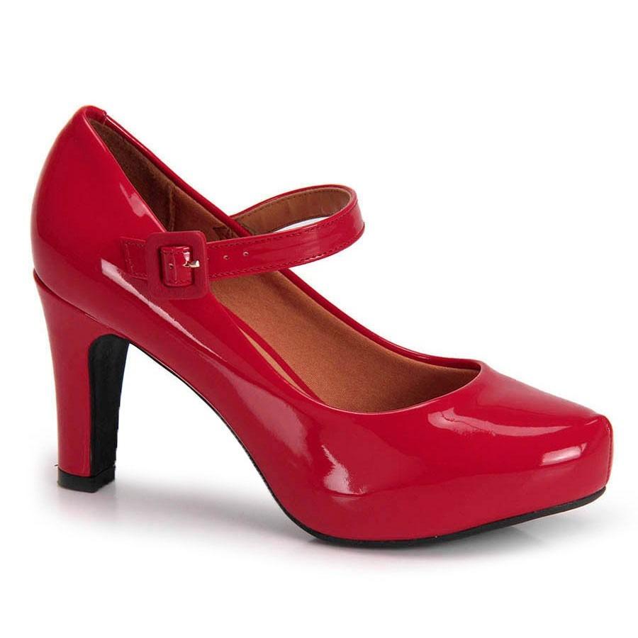 8b652748bf scarpin vizzano meia pata verniz vermelho. Carregando zoom.