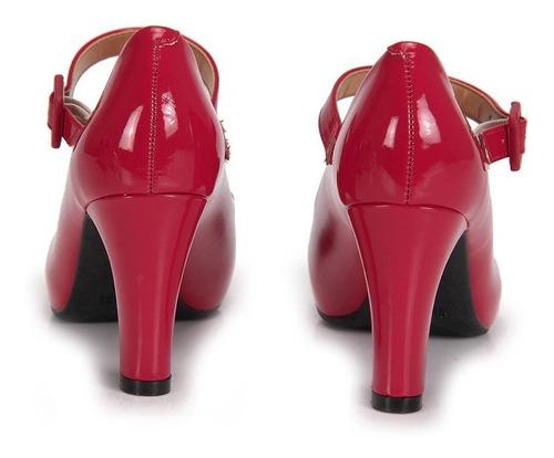 scarpin vizzano meia pata verniz vermelho