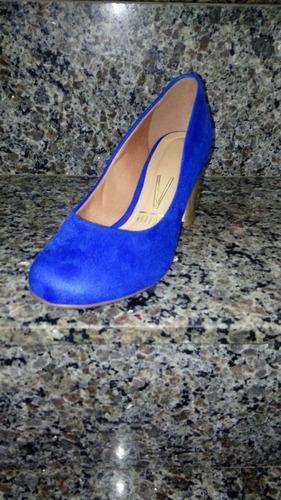 scarpin vizzano salto bloco baixo camurça azul royal