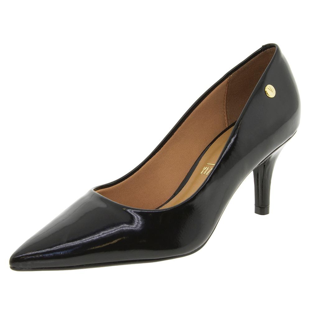 46debd977c Carregando zoom... 4 sapato feminino salto médio scarpin verniz preto  vizzano - 1