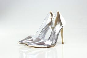 be38e657c Scarpin Prata Com Transparente - Sapatos no Mercado Livre Brasil