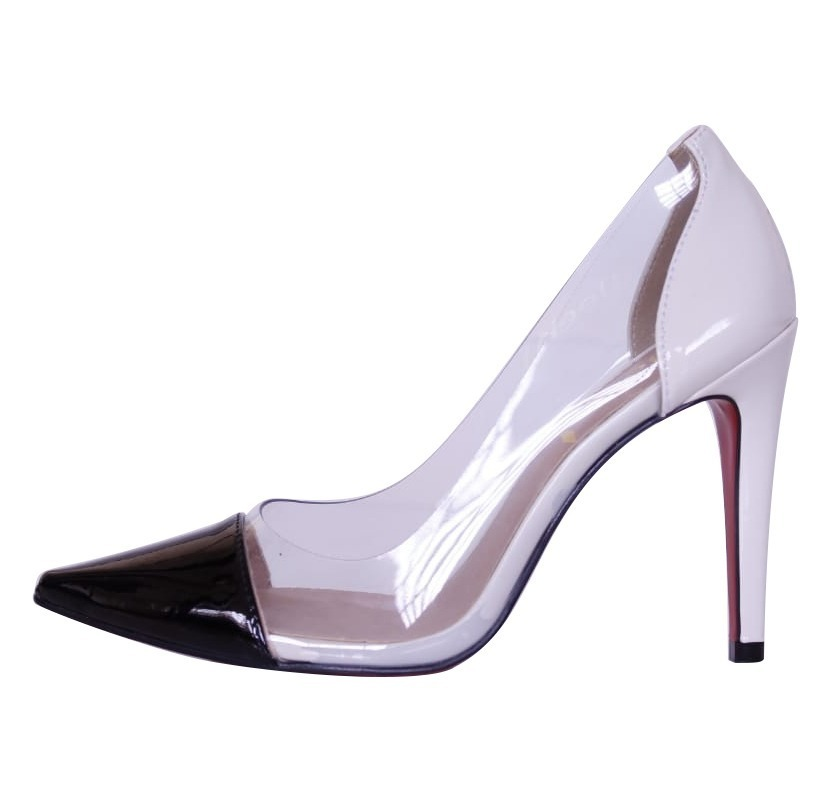 0ff8033c3 scarpin week shoes salto alto transparente preto e branco. Carregando zoom.