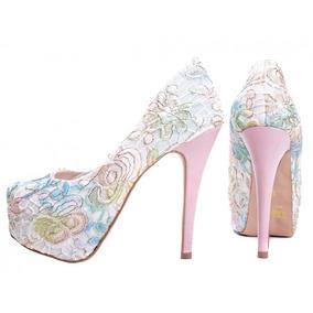 61ca7f97e Sapato Peep Toe Renda Preta Salto 8 Cm Laco - Calçados, Roupas e ...