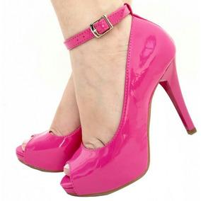 e09bfb88f Sandália Peep Toe Pink Rosa Salto Alto Fino Tira Festa 1755